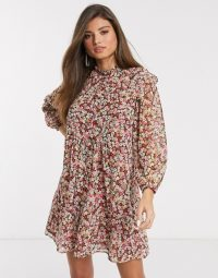 Mango layered smock dress in floral print