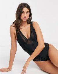 Mango mesh detail swimsuit in black | semi sheer swimwear