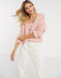 Mango open knit cardigan co-ord in pink