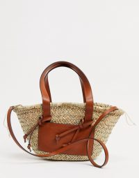 Mango straw bag with front panel in tan – neutral summer bags