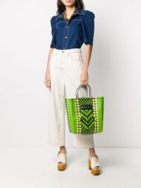MARNI MARKET Market woven tote bag in Green