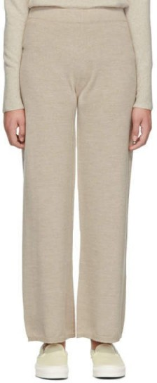 Sofia Richie relaxed knit trousers worn on the beach at Malibu, Max Mara Beige Woolmark Sofocle Lounge Pants, 26 April 2020 | celebrity loungwear