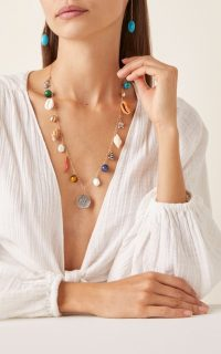 Haute Victoire Medallion 15-Charm Shell Necklace / longline summer necklaces / seashell charms