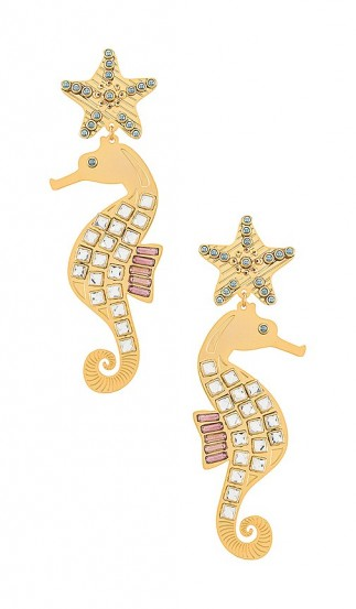 Mercedes Salazar Isla Seahorse Earring | longline statement drops | sea inspired earrings | clip on crystal covered seahorses