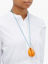 AURÉLIE BIDERMANN Merco orange lacquered-shell charm necklace