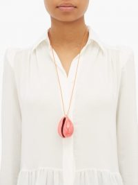 AURÉLIE BIDERMANN Merco pink lacquered-shell charm necklace