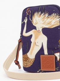 LOEWE PAULA'S IBIZA Mermaid-print canvas cross-body pouch in blue | beautiful mermaids | printed sea inspired crossbody