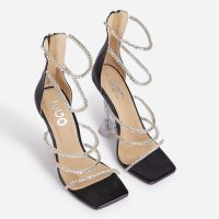 EGO Michelada Diamante Detail Square Toe Caged Clear Perspex Pyramid Heel In Black Faux Leather – strappy evening heels