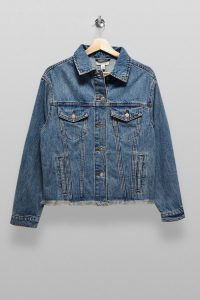 TOPSHOP Mid Stone Raw Denim Oversized Jacket – frayed hem trucker