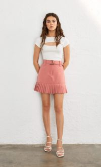 STRADIVARIUS Mini skirt with pleated hem salmon pink