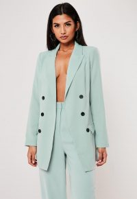 MISSGUIDED mint co ord oversized button front blazer – longline summer jacket