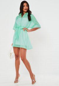 MISSGUIDED mint organza shirt dress – sheer overlay dresses