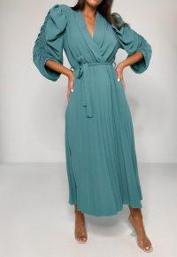MISSGUIDED mint puff sleeve pleated skirt midi dress | gathered sleeves