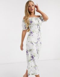 Missguided bardot jumpsuit in floral print / white printed off the shoulder jumpsuits