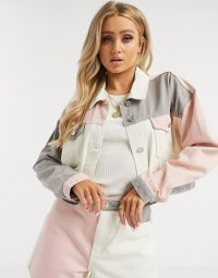 Missguided colourblock denim co-ord in white – jacket and shorts set