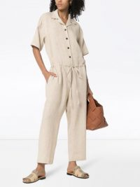 MISSING YOU ALREADY cream button-down jumpsuit | drawstring jumpsuits