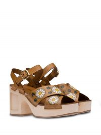MIU MIU floral-print leather sandals / chunky daisy sandal