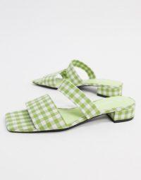 Monki Julie ginham double strap low heel in green check