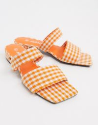 Monki Julie ginham double strap low heel in orange check / gingham mules