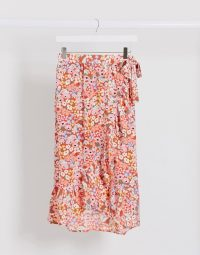 Monki Mary-lou floral print frill wrap midi skirt in red | summer skirts