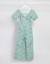 Monki Nala organic cotton short puff sleeve floral print jumpsuit in green – summer jumpsuits