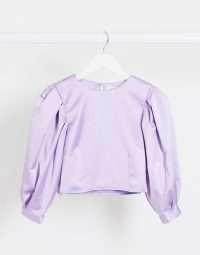 Monki Olly puff sleeve satin blouse in lilac