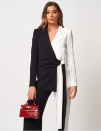 FOREVER UNIQUE Monochrome Wrap Front Blazer – chic mono jacket