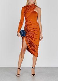 MONSE Orange one-shoulder stretch-jersey midi dress