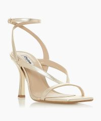 Dune London Monterey Gold Square Toe High Heel Sandal | strappy metallic summer sandals