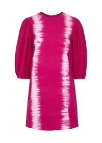 MSGM Raspberry tie-dyed cotton mini dress / pink balloon sleeve dresses