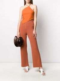 NANUSHKA textured halter top / orange asymmetric summer tops