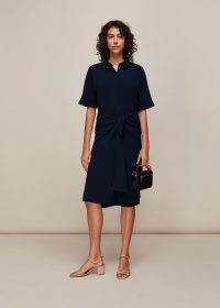 WHISTLES DOLLY TIE FRONT DRESS NAVY