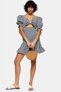 TOPSHOP Navy Gingham Tie Front Mini Dress