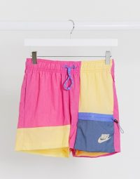 Nike colourblock woven shorts in pink