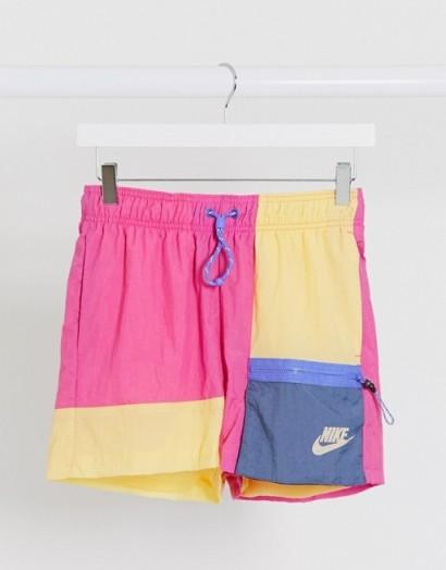 Nike colourblock woven shorts in pink