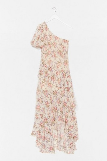 NASTY GAL Nip It in the Bud Floral Maxi Dress / one shoulder summer frock