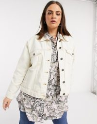 Noisy May Curve denim jacket with contrast stitch in ecru – neutral casuals