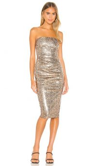 Nookie Blind Date Midi Dress in Bronze | evening glamour