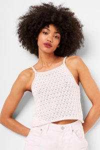 French Connection NORA CROCHET SQUARE NECK TOP SUMMER WHITE