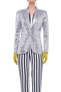 Norma Kamali OVERLAPPING SEQUIN SINGLE BREASTED JACKET SILVER / sequinned jackets