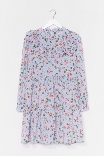 NASTY GAL Not Growing to Happen Floral Mini Dress / blue tiered summer dresses