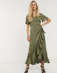 Object satin midaxi dress with ruffle trim in olive