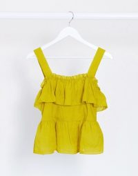 Object square neck ruffle detail top in green – ruffled summer tops