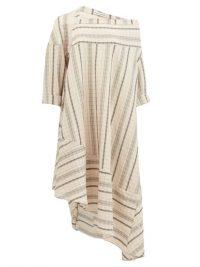 PALMER//HARDING Off-shoulder striped linen-blend dress