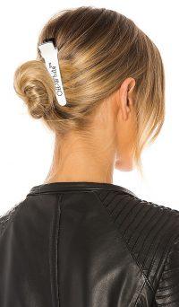 OFF-WHITE Logo Hair Clip White Black