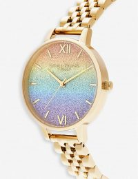 OLIVIA BURTON Rainbow Mini glitter dial gold-plated stainless-steel watch – round face watches