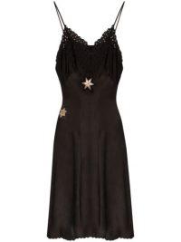 ONE VINTAGE star-embroidered slip dress
