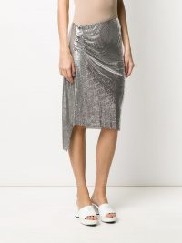 PACO RABANNE chainmail ruched skirt in silver