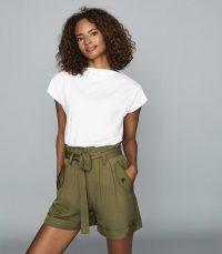Reiss PAISLEY STRAIGHT NECK T-SHIRT WHITE / summer essentials