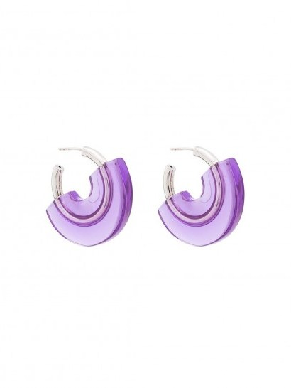 PANCONESI gold-plated sterling silver and purple resin earrings - flipped